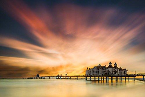 Exklusives Glasbild in Galerie Qualität, Seebrücke von Sellin im Sonnenaufgang