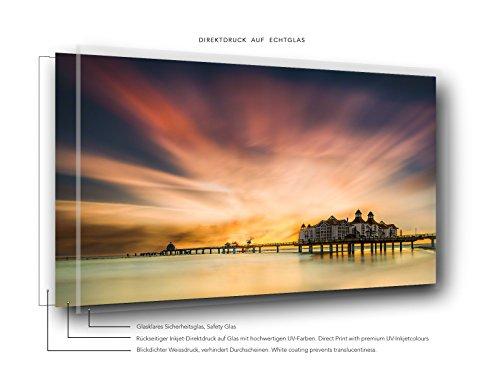 Exklusives Glasbild in Galerie Qualität. Rügen. Seebrücke von Sellin im Sonnenaufgang. Limited Edition. Auflage: 150 Stück. Echtglasbild als Wandbild Wand Kunst Bild   Foto Fotografie   Wanddeko - 2