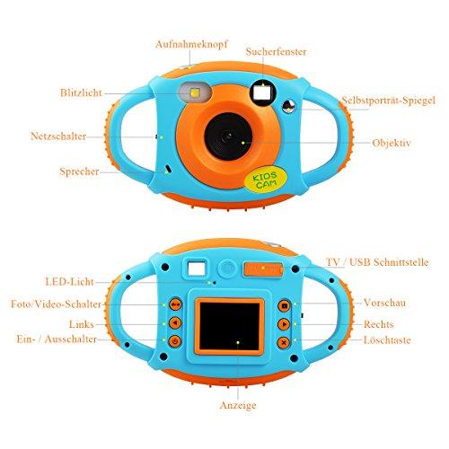 Tyhbelle Digital Kamera für Kinder Kinderkamera mit Wiederaufladbare Batterien 500 Millionen Pixel 1,77-Zoll-Farbbildschirm (Orange) - 8