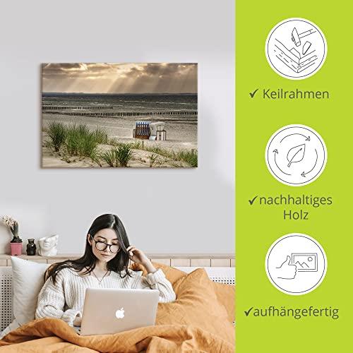 Artland Poster oder Leinwand-Bild gespannt auf Keilrahmen mit Motiv H.Damke Einsamer Strand 'Schwarzer Busch' auf der Insel Poel (Mecklenburg-Vorpommern, Deutschland) Landschaft Strand Foto Creme D8NX - 2