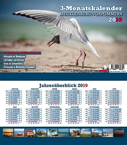 Mecklenburg-Vorpommern 2019 3-Monatskalender